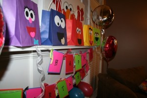 Sesame street birthday party gift bags
